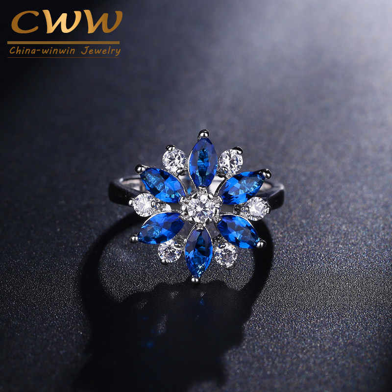 CWWZircons Classic Cubic Zirconia แหวนแฟชั่นผู้หญิงเครื่องประดับสีขาวทองสี Royal Blue CZ ดอกไม้สไตล์แหวน R074