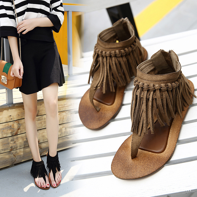 f3b58dda1 famous designer tassel sandals women suede leather flip flops plait fringe  gladiator sandals women vintage summer shoes c203