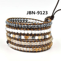 hot selling 2016 new arrival Black gallstone bangle vintage Style weaving leather wrap bracelet adjustable bracelet JBN-9123