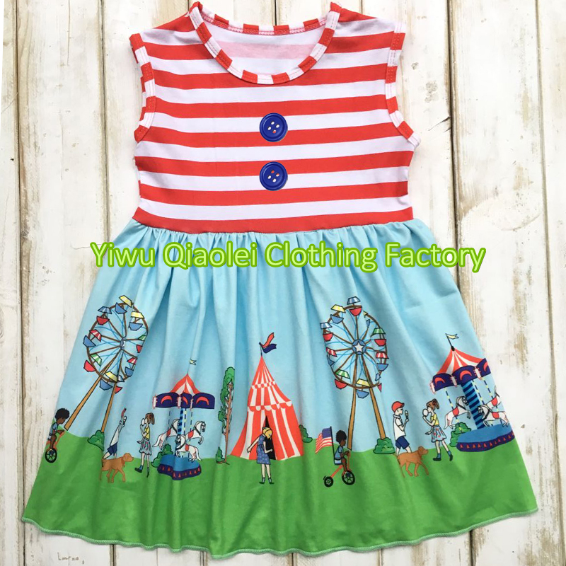 4th of July dress USA cute girl knitted cotton high quality baby dress