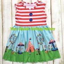 4ème de Juillet robe USA mignon fille tricoté coton de haute qualité bébé robe