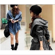 Autumn Denim Coat Oversized Hoodie Hooded Outerwear Jean Wind Jacket Denim Women Coat Female Winter chaquetas mujer