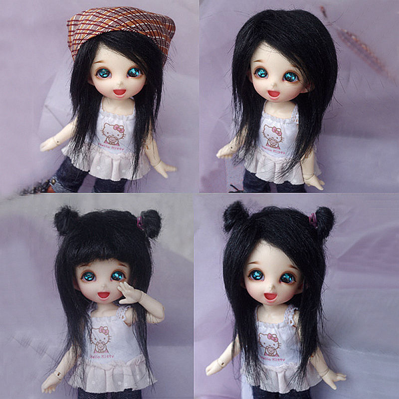 [wamami] Black Long Wool <font><b>Wig</b></font>/Hair <font><b>1/8</b></font> Pukifee Ae Lati <font><b>BJD</b></font> Dollfie 14cm image