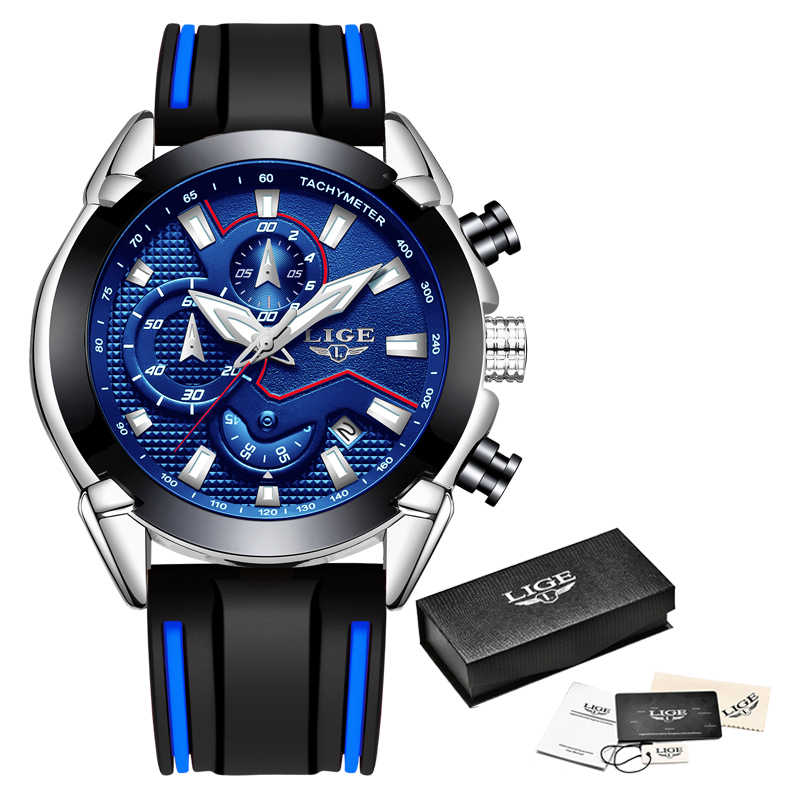 LIGE hommes montres bracelet en Silicone haut de gamme marque de luxe étanche Sport chronographe Quartz affaires montre-bracelet hommes reloj hombre