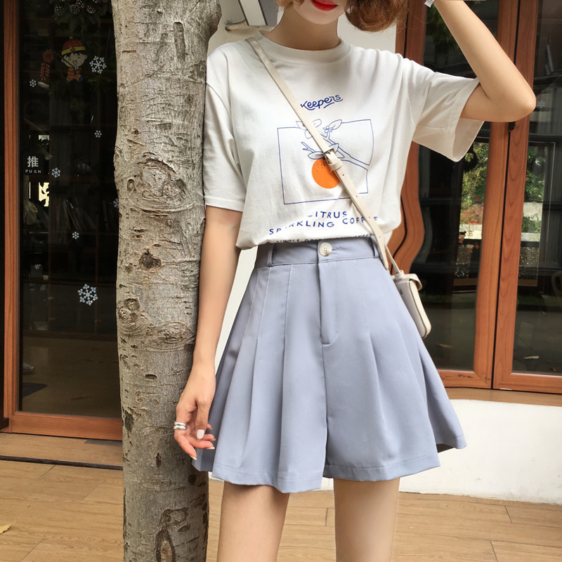 Women Pleated Shorts Skirts Classic Vintage High Waist Blue Wide Leg Female Caual Summer Ladies Shorts Skirts Women Loose