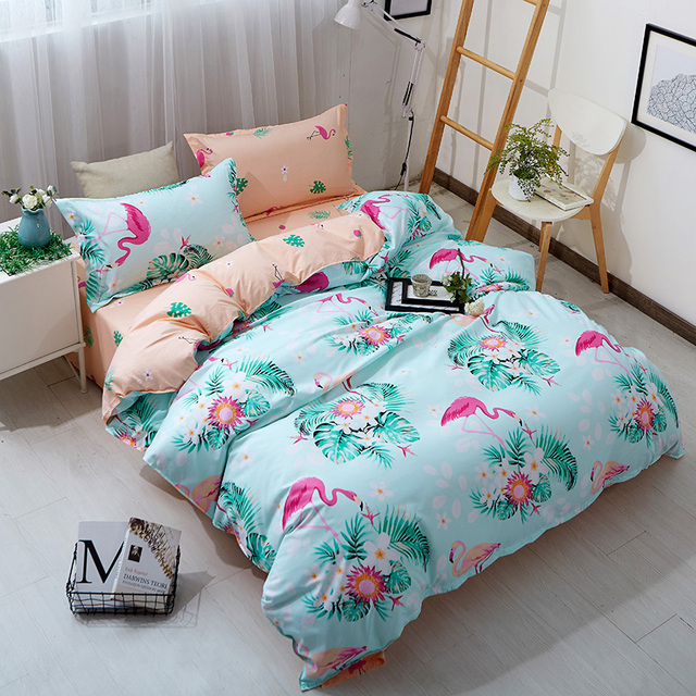 Pink Flamingo Tropical Green Plants Leaves Print Kids Bedding Bedlinen Twin Size