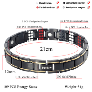 Image 3 - Hottime 109 PCS Bio Elements Energy Stone 3500 Gauss Magnetic Therapy Germanium Bracelet 4 IN 1 Mens Fashion Health Jewelry