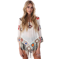 Elegant 2017 White Lace Crochet Chiffon Blouses Women Boho V Neck Loose Tunic Tops Plus Size