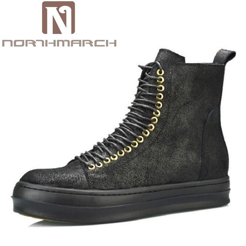 NORTHMARCH Spring&Autumn New Arrival Men Shoes Brand Designer Casual Black Leather Boots personality Lace-up Martin Boots 2016 new men breathable casual shoes autumn spring men white black blue pu leather shoes men shoes