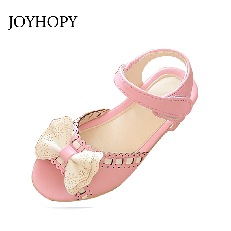 JOYHOPY Spring Summer Child Girls Sandals Kids Girls Bow Tie Leather Shoes Princess Girls Shoes Kids Leather Flats