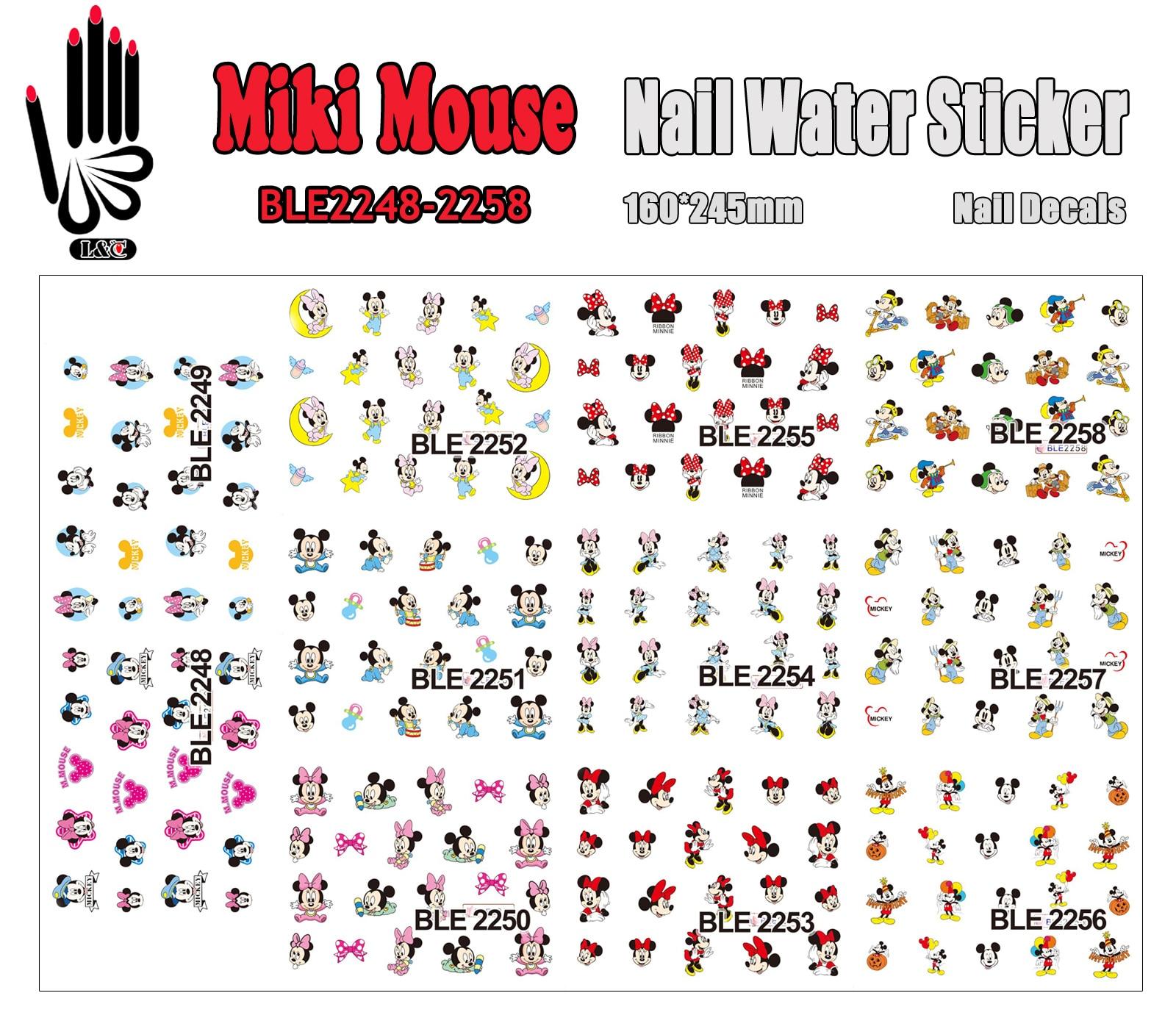 11 Sheets/Lot Nail Art BLE2248-2258 Cartoon Mouse Nail Art Water Transfer Sticker for Nail Wraps(11 DESIGNS IN 1) nail art large piece yb529 540 12 designs in 1 cartoon pet hello kitty nail art water transfer sticker decal for nail