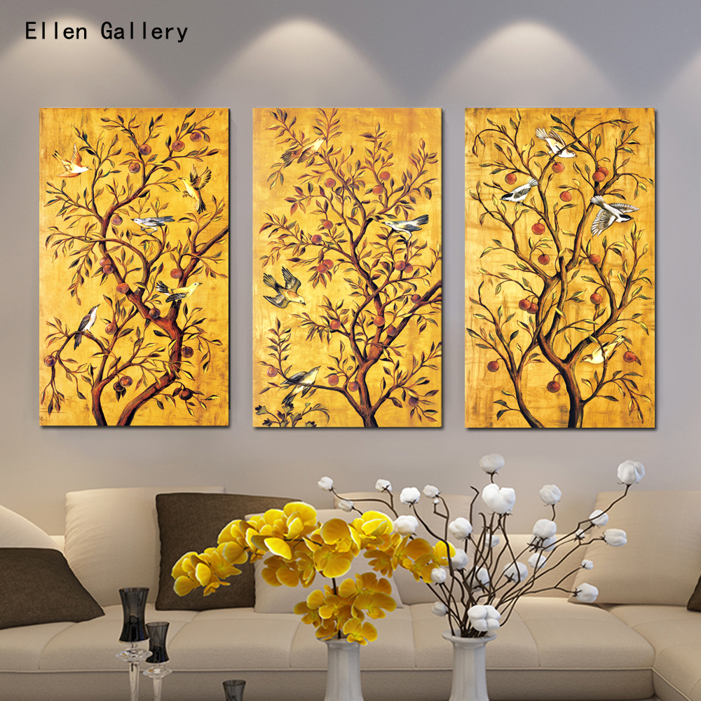 Modern Paintings For Living Room Aliexpresscom Buy 3pieces Golden Tree Modern Art Canvas