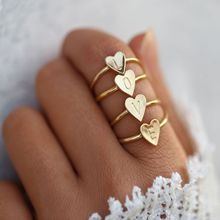ZN 2019 Personality DIY Couple rings 26 Letter A-Z Initial Ring Boho Engraved Rings for Women Gold Color Heart