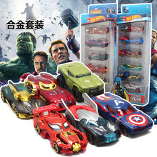 Avengers Set 6 Car Toys Childrens Taxi Pocket Foreign Trade Wholesale