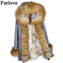 Новинка парка Настоящее пальто с мехом зимняя куртка женские натуральный мех енота меховым воротником теплые с мехом кролика вкладыш Парки Съемная пальто