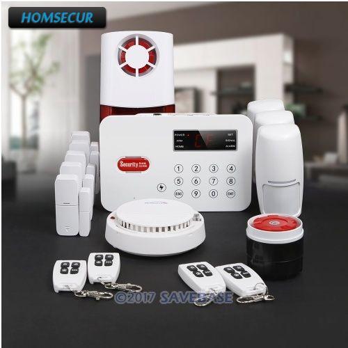 HOMSECUR Wireless Landline PSTN Home Security font b Alarm b font System With Wireless Flash Siren