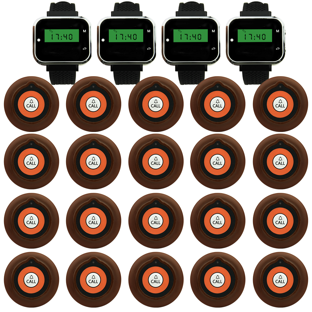 JINGLE BELLS wireless restaurant calling systems 20 transmitters 4 watch pager guest waiter calling buttons table