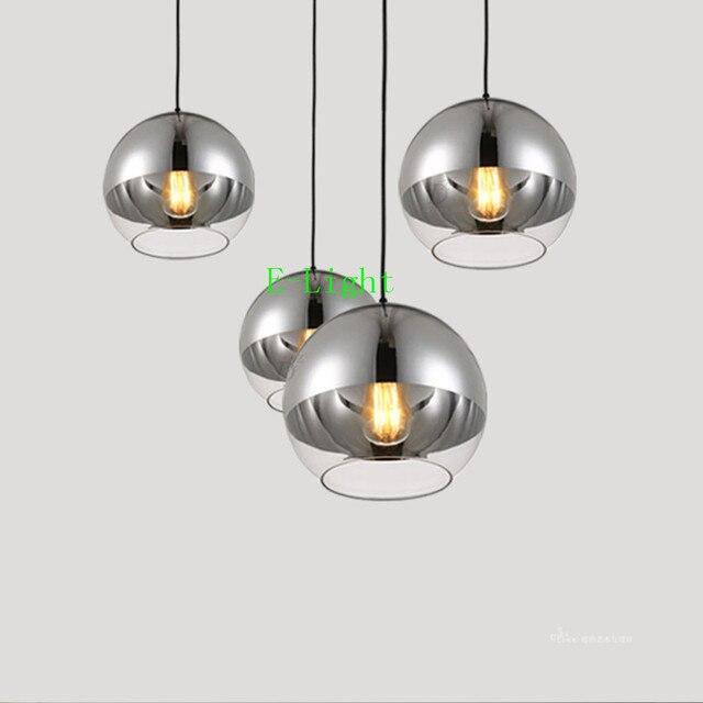 eb75065bec290 Cobre plata espejo cromo bola lustre lámpara colgante LED Globos terráqueos  vidrio bola burbuja lámpara