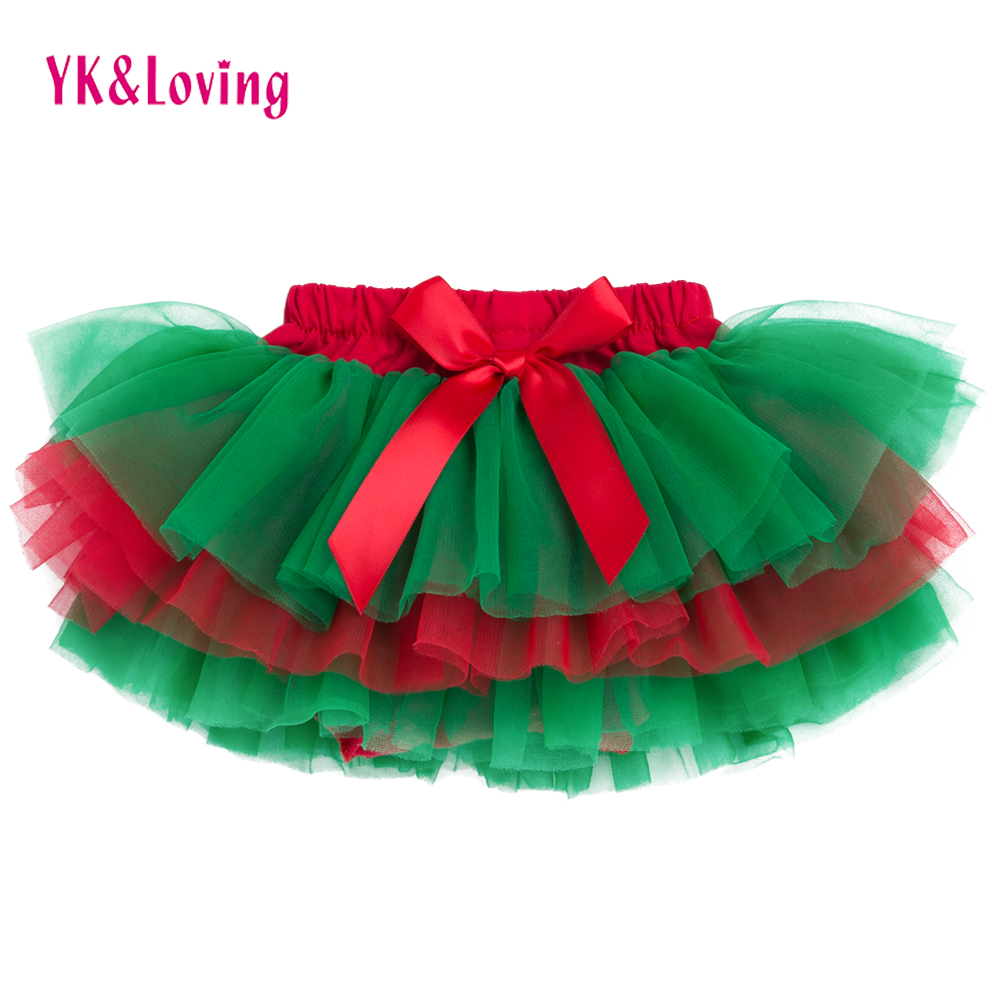 Baby Girls Ruffle Skirt Christmas Green and Red Bottom Tutu Skirts Diapers Infant bloomers Pettiskirt newborn outfit