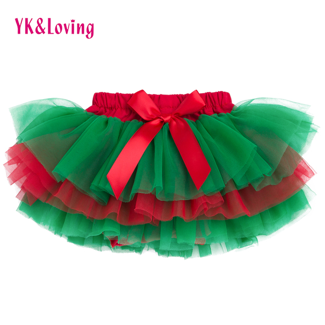 4d2644d1f0 Baby Girls Ruffle Skirt Christmas Green and Red Bottom Tutu Skirts Diapers  Infant bloomers Pettiskirt newborn outfit