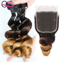 May Queen Brazilian Hair Weave 3 Bundles With Closure Ombre Loose Wave T1B/4/30 Remy Human Hair Bundles With Lace Closure