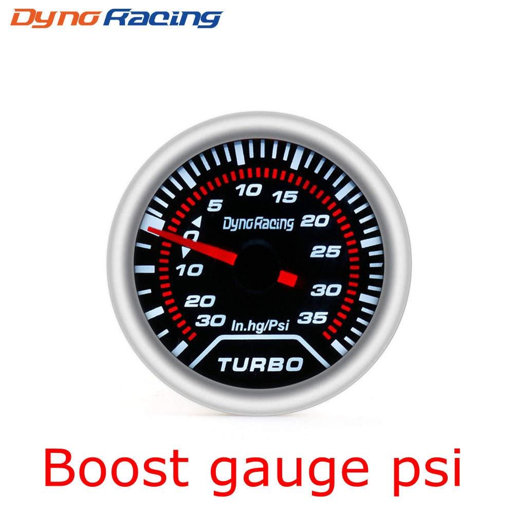 """Dynoracing """" 52 мм Автомобильный манометр бар psi температура выхлопных газов температура воды Температура масла пресс воздуха датчик топлива вольтметр Тахометр - Цвет: Boost Gauge PSI"""