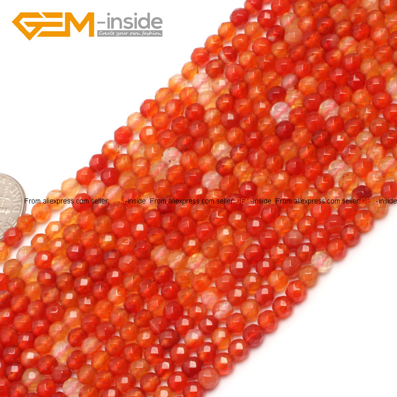 Gem-inside 4mm 15inch Round Faceted Red Tiny Small Spacer Seed Carnelian Agates Beads For Jewelry Making Necklace DIY Jewellery