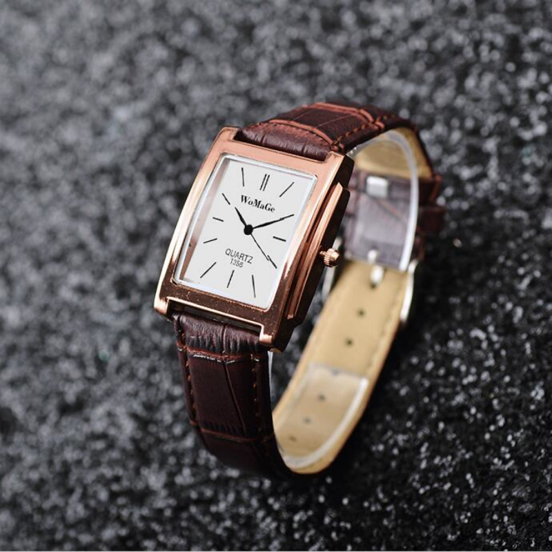 New Watches Mens Square Rectangle Rose Gold Leather Band Business Suit Wristwatch Luxury Brand Male Quartz Watches montre homme