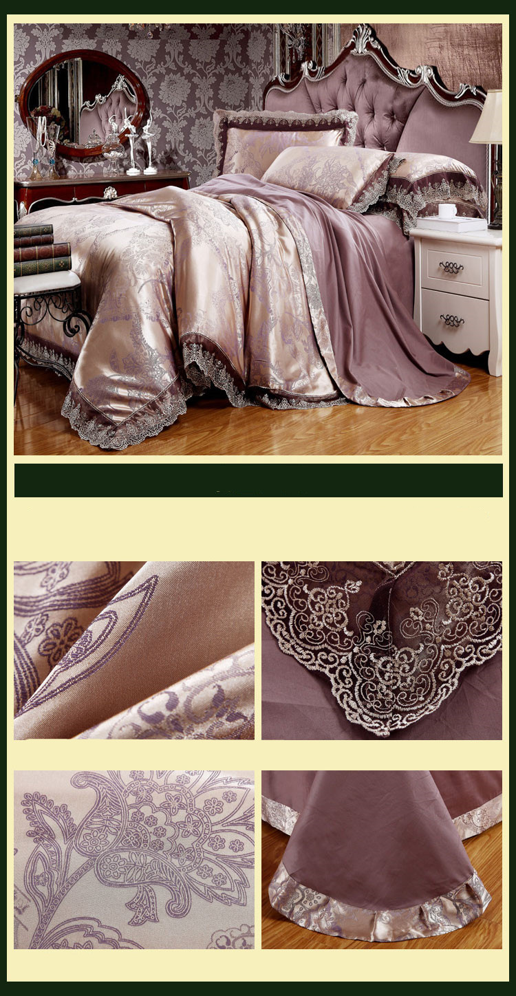 New Luxury Embroidery Tinsel Satin Silk Jacquard Bedding Set, Queen, King Size, 4pcs/6pcs 26