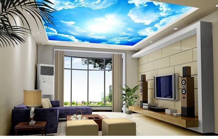 Anpassen 3D Grosse Hotel Lobby Decke Wandbild Schlafzimmer Wohnzimmer Malerei Dcher Weisse Wolken In Blau Sky Wallpaper