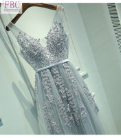 2018 Real Picture Light Grey A Line Tulle Bridesmaid Dresses O Neck Appliques Lace Bridesmaid Gowns
