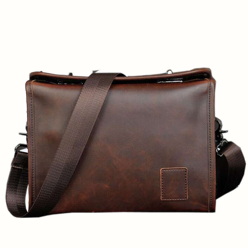 все цены на  New 2016 Hot Sale Fashion Men Bags Men Famous Brand Design Leather Messenger Bag High Quality Men's Bag  онлайн