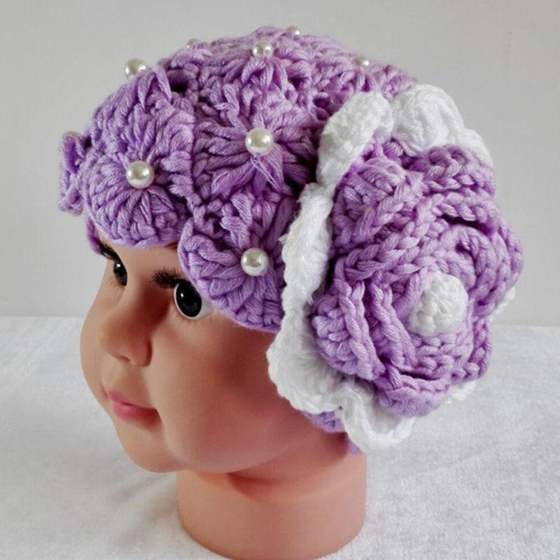 Newborn Baby Girls Crochet Flower Hat Cap Handmade Knitted Beret Hat Girls Flower Beanie Caps Imitation Pearls Baby Spring Hats