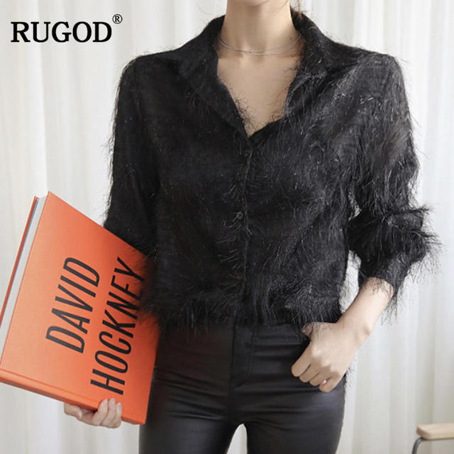 5b63b6c2 RUGOD Fashion Solid Tassel Women Shirts New Turn-down Collar Long Sleeve  Button Women'S Blouse Spring Casual Women Tops