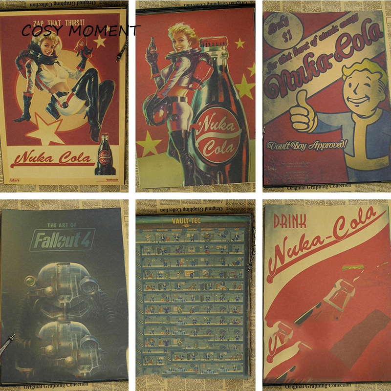 COSY MOMENT Hot Fallout Game Poster Home Furnishing Decoration Kraft Paper Game Poster Drawing core Wall stickers QT118 image