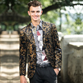 High quality Personality  Male Flower Print slim jacket blazers Handsome British style men's suit for singer dancer show