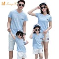 Family Look 2017 Summer New Family Matching Clothing Outfits mother son daughter father sets Blue T-shirt + White Pants