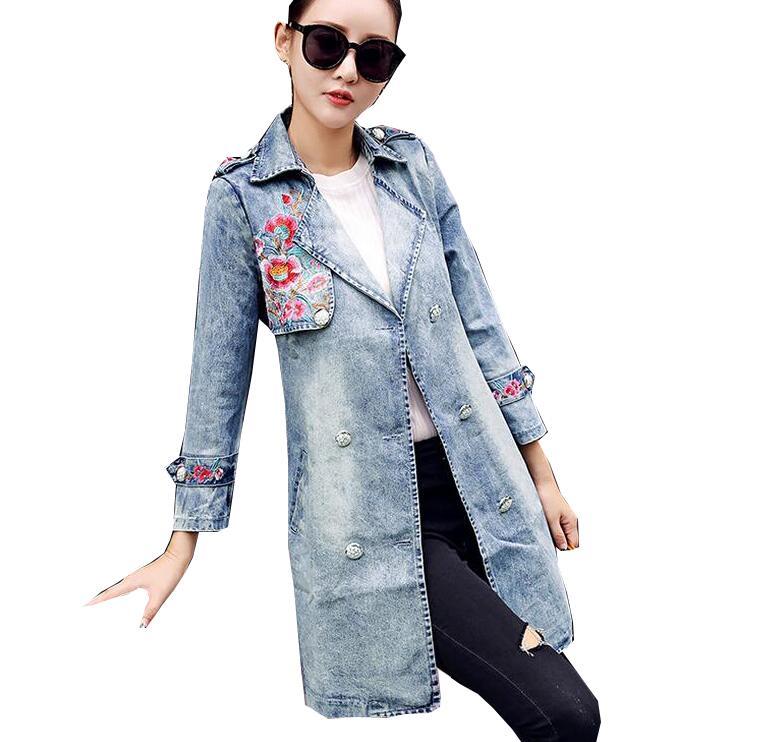 Fashion New Autumn long windbreaker women embroidery Flowers denim   trench   coat female outwear
