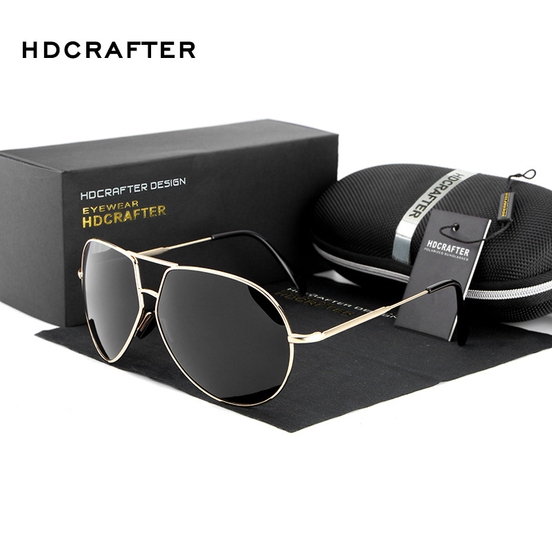 HDCRAFTERBrand Design Aviator Sunglasses Men Polarized UV400 Eyes Protect Coating Sun Glasses Google Pilot New de sol ...