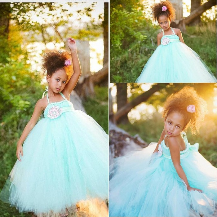 Mint Green Flower Girl Dresses Tutu Dresses with Flower Sash