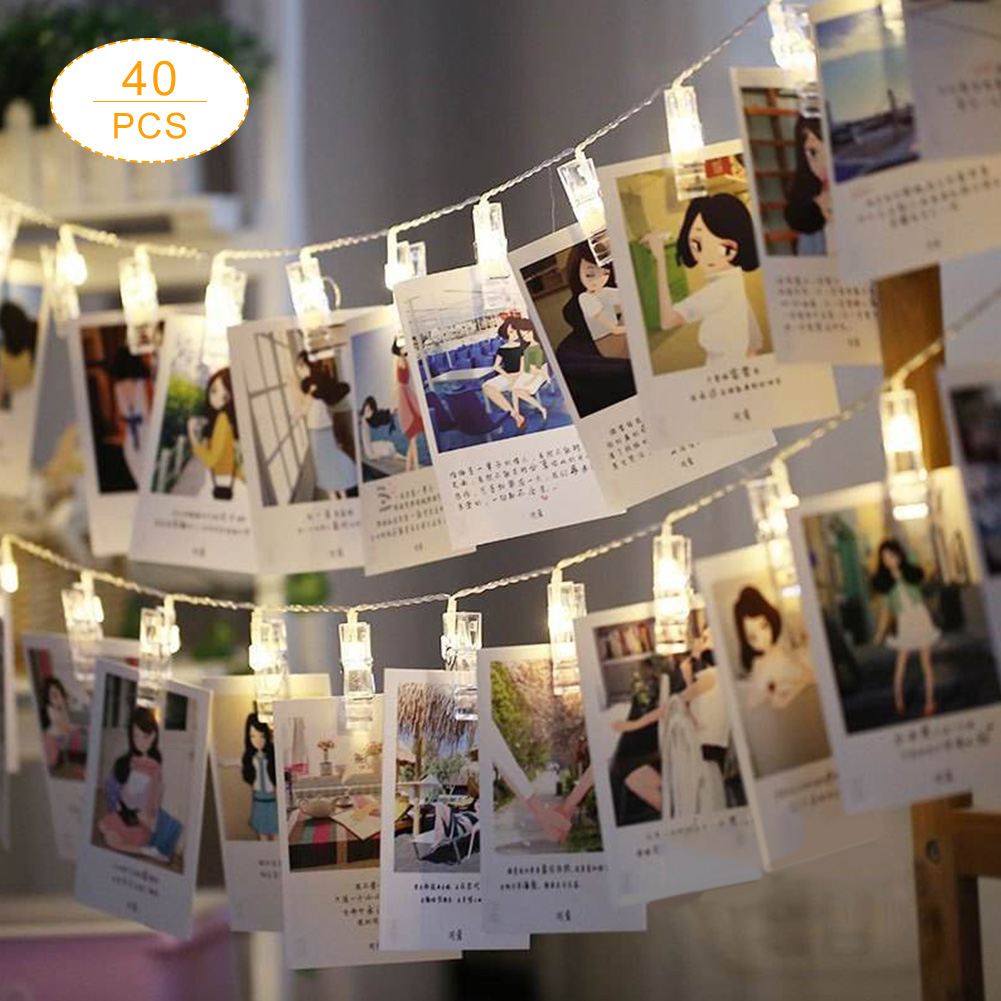 Aliexpress Com Buy 40 Led Warm White Garland Card Photo