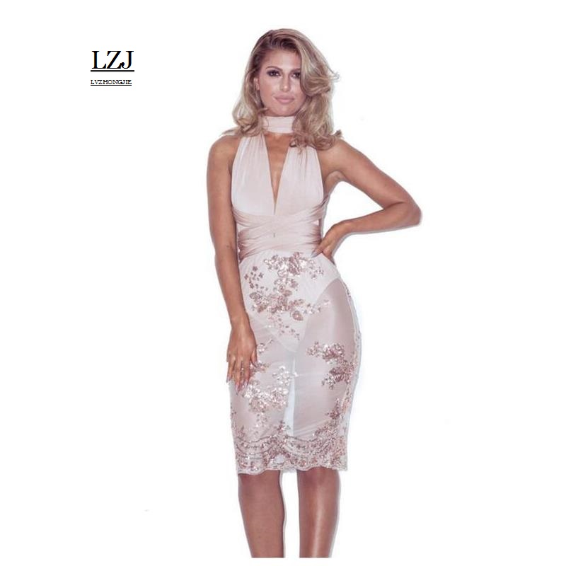 LZJ Spaghetti Strap 2017 High Quality Sexy Women Bodycon Bandage Wear more crossed Leak back Dresses Wholesale Cheap XL vestidos