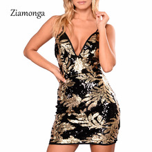 Ziamonga 2018 New Arrival Sexy Party Dresses Women Gold V-Neck Sleeveless Sequin Dress Summer Cocktail Party Mini Bandage Dress