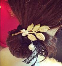 2016 New Fashion Gold Plated Metal Leaves Hair Accessories Greek style fresh leaves hairpin Pearls Retro For Women Hairwear Gift