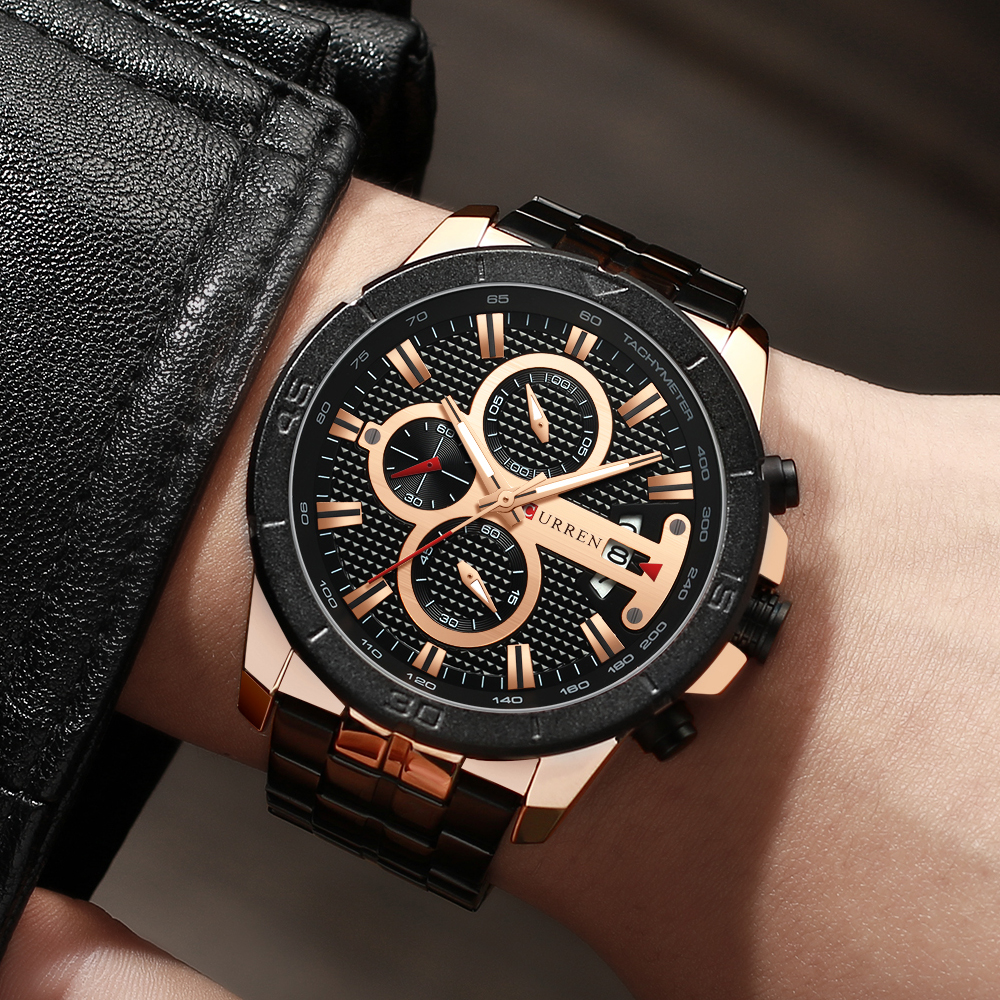 HTB1OPeucvWG3KVjSZFgq6zTspXaK CURREN Business Men Watch Luxury Brand Stainless Steel Wrist Watch Chronograph Army Military Quartz Watches Relogio Masculino