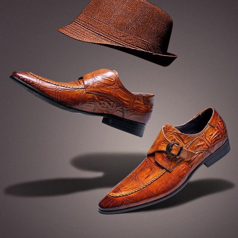 Sapatos Primavera Luxo Vestido Genuíno Oxford brown Homens Verão Apartamentos Black Para Slipon Marca Fivela Casuais Casamento De Couro RxqwF8t