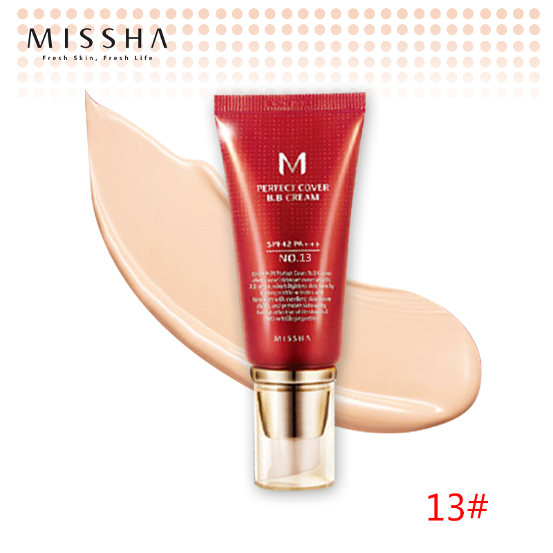 Best Korea Cosmetics MISSHA M Perfect Cover BB Cream 50ml SPF42 PA+++ (NO.13 Bright Beige ) Foundation Makeup Perfect BB Cream тональная основа enprani daysys royal bee perfect cover foundation spf35 pa 21 цвет 21 light beige variant hex name f0d3b5