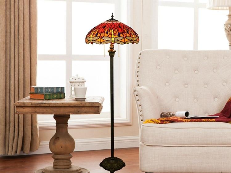 В европейском стиле Тиффани розы витражи стеклянная Напольная Лампа из фибролитов средей плотности спальня лампа E27 110 240 V