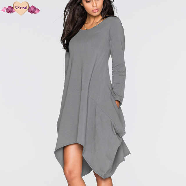 47ca9a3105b New High Street Women Autumn Winter Asymmetrical Dress Long Sleeve Tunic  Irregular Dresses Solid O Neck Swing Dress Z3D228