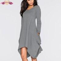 New High Street Women Autumn Winter Asymmetrical Dress Long Sleeve Tunic Irregular Dresses Solid O Neck